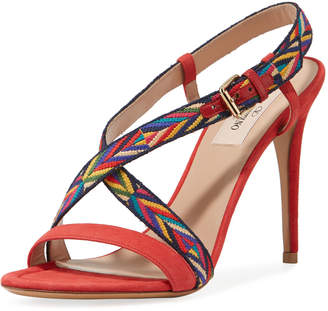 Valentino Embroidered Strappy Suede Sandals