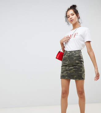 New Look Tall denim skirt in camo