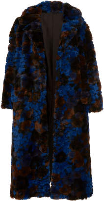 Anna Sui Bed Of Roses Faux Fur Coat