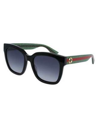 Gucci Glittered Oversized Rectangular Universal-Fit Sunglasses, Black/Green/Red $360 thestylecure.com