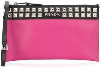 Prada City studded clutch