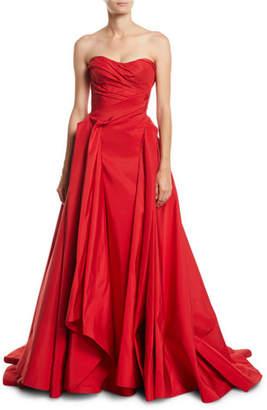 Zac Posen Strapless Sweetheart-Neck Draped Evening Gown w/ Train