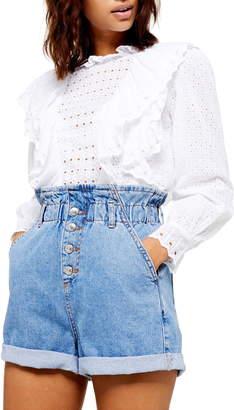 Topshop Ruffle Long Sleeve Broderie Anglaise Top