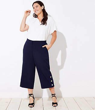 LOFT Plus Button Cuff Wide Leg Crop Pants