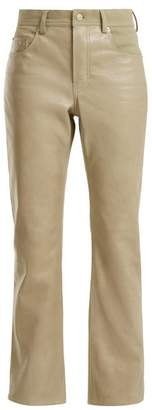 Acne Studios - Contrast Panel Leather Jeans - Womens - Beige