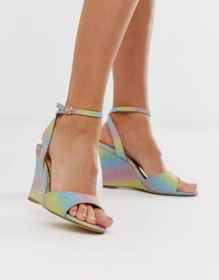 Head Over Heels By Dune Milley rainbow glitter wedge sandals