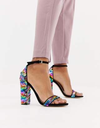 Miss Selfridge block heel sandal in rainbow sequin