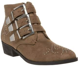 Josie New Womens SOLESISTER Taupe Microfibre Boots Ankle Buckle Zip