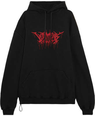 Vetements - Oversized Printed Cotton-blend Jersey Hooded Top - Black $1,150 thestylecure.com
