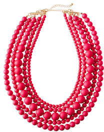 Multi-Strand Bauble Necklace Coral