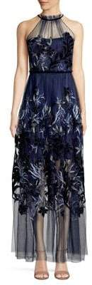 Elie Tahari Floral Embroidered Illusion Dress