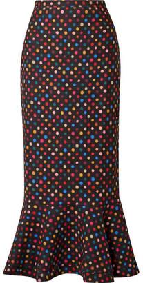 Saloni Portia Polka-dot Crepe Peplum Midi Skirt