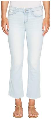 Liverpool Hannah Cropped Flare with Fringe in Power Blue Soft Denim in Idyllwild Bleach Women's Jeans