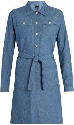 A.P.C. Dolly cotton-chambray dress $223 thestylecure.com