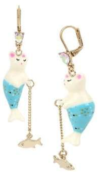 Betsey Johnson Sealife Crystal Purmaid and Fish Drop Earrings