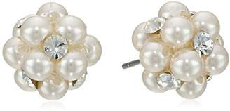 clear Color Simulated Pearl and Crystal Cluster Studs