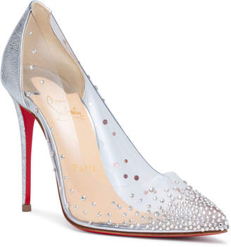 Christian Louboutin Degrastrass 100 silver patent pumps
