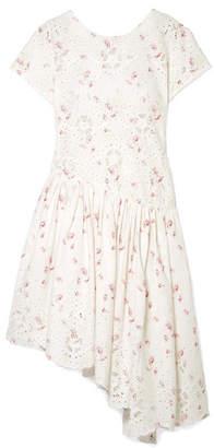 Sea Alouette Asymmetric Floral-print Cotton Midi Dress - White