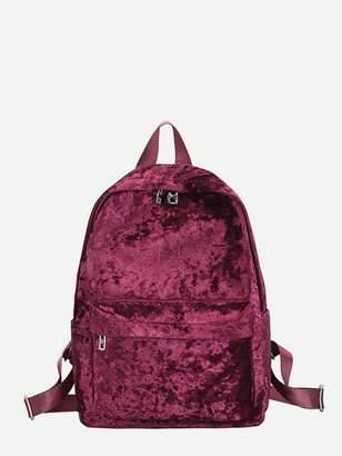 Shein Pocket Front Velvet Backpack