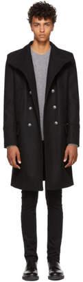 Balmain Black Cross Collar Coat