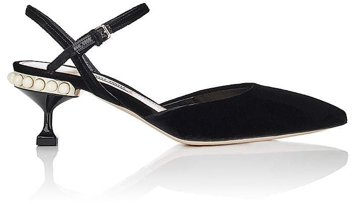 Miu Miu Women's Embellished Velvet Pumps