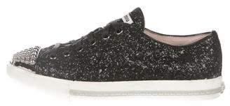 Miu Miu Glitter Cap-Toe Sneakers