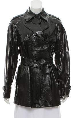 Dolce & Gabbana Patent Leather Double-Breasted Coat w/ Tags