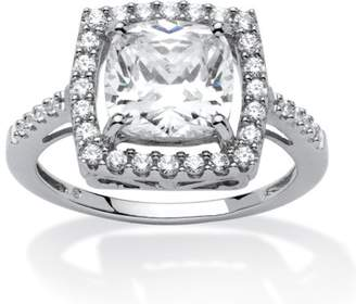 PalmBeach Jewelry Palm Beach Jewelry 2.02 TCW Cushion Princess-Cut Cubic Zirconia Platinum over Sterling Silver Halo Ring