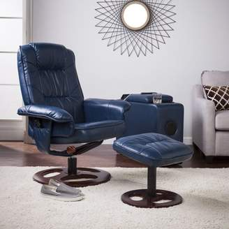 Southern Enterprises Lirrados Faux Leather Swivel Recliner with Ottoman, Navy