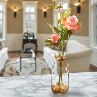 August Grove Pink Roses in Glass Vase
