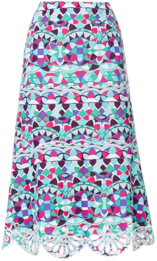 printed crochet-trimmed midi skirt
