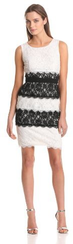 BCBGMAXAZRIA Women's Nina Color Blocked Lace Sheath Dress