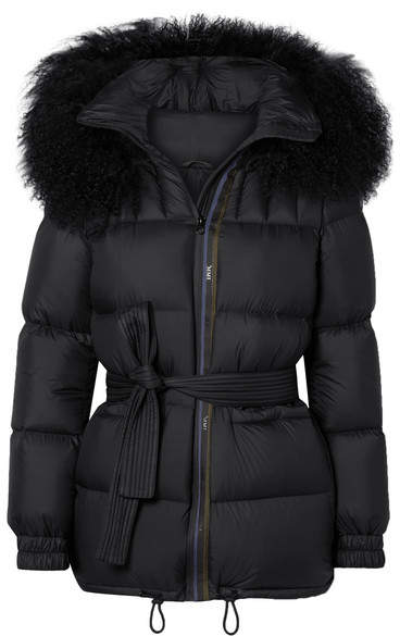 MR & MRS ITALY - Belted Shearling-trimmed Shell Down Coat - Black