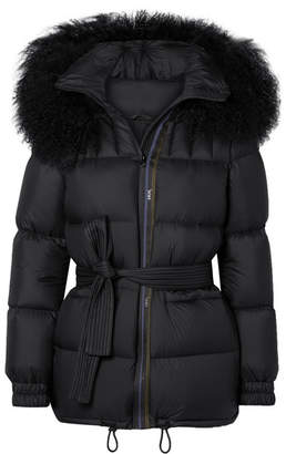 Mr & Mrs Italy Belted Shearling-trimmed Shell Down Coat - Black