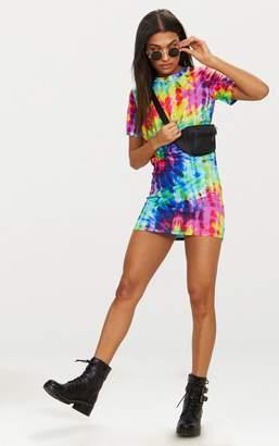 PrettyLittleThing Multi Tie Dye Short Sleeve T Shirt Dress