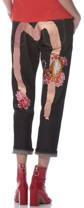 Evisu Daicock Print Boyfriend Jeans With Floral And Nue Embroidery