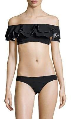 Lisa Marie Fernandez Two-Piece Ruffled Off-the-Shoulder Bikini