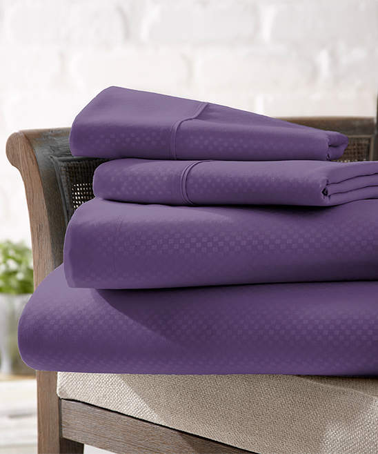 Purple Checkerboard Microfiber Sheet Set