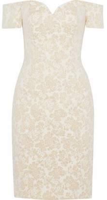 Badgley Mischka Off-The-Shoulder Metallic Jacquard Dress