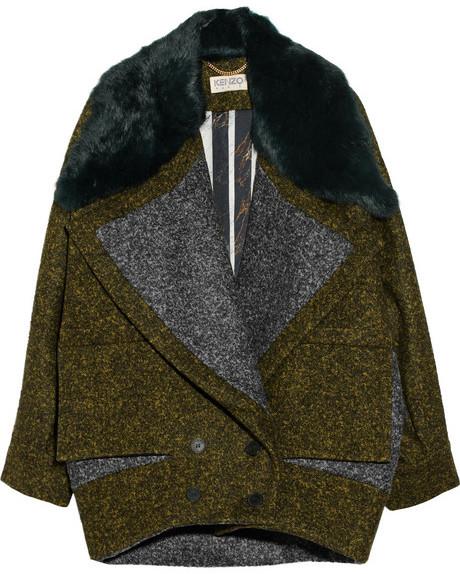 Kenzo Rabbit-trimmed wool-blend coat