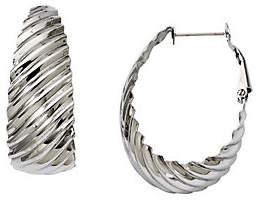 """Steel by Design Stainless Steel 1-1/4"""" Textured Oval Hoop Earri"""
