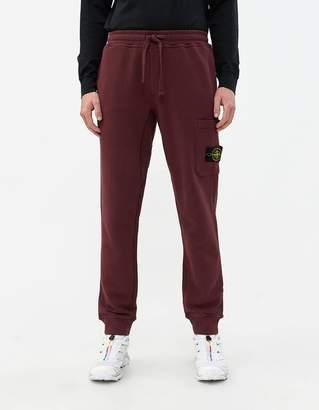 Stone Island Brushed Cotton Fleece Pant in Dark Burgundy