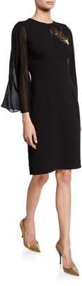 Trina Turk Hensely Crepe Embellished Crane Detail Dress