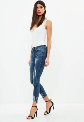 Missguided Blue Chewed Hem Skinny Jean