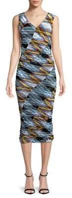 Diane von Furstenberg Sleeveless V-Neck Bias Mesh Sheath Dress