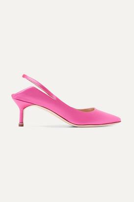 Vetements - Manolo Blahnik Satin Slingback Pumps - Bright pink $1,585 thestylecure.com