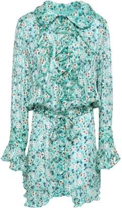 Anna Sui Ruffled Floral-print Silk-georgette Mini Dress