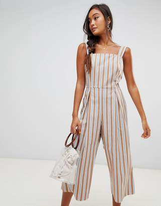 Miss Selfridge pinafore jumpsuit in stripe