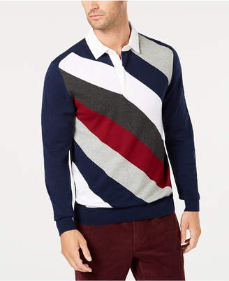 Club Room Men's Striped Rugby Sweater, Created for Macy's