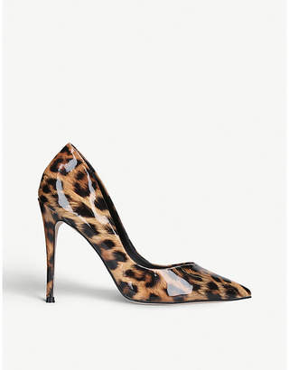 Kurt Geiger Tan Brown Alyx Leopard Print Faux Patent-Leather Courts High-Heel Shoes